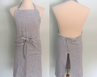 Blue Checked Apron, Pocket and Towel Loop, Blue Gingham Apron, Mens Linen Apron, Blue Checkered Apron, Adjustable, Extra Wide, No Neck Ties