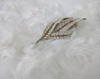 Vintage brooch leaf  White metal Vintage jewelry  Retro brooch Made in USSR 1980s