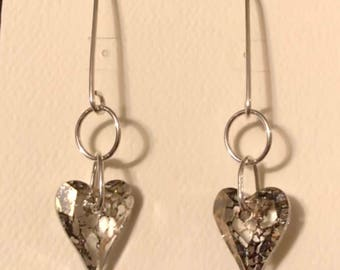 Large Swarovski Heart Earrings