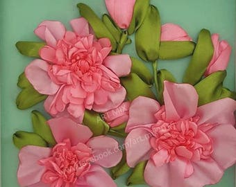 Pink Peonies  // Satin Ribbon Embroidery // Framed // Glass cover // 25cm x 25cm