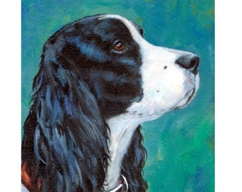 English Springer Spaniel Dog Print by Dottie Dracos, Black and White Profile