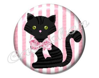 2 cabochons 20mm glass cat, pink and black