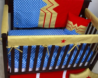 Superhero Baby Bedding--Wonder Woman--Custom Crib Bedding-MTO