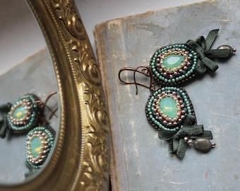 Green bead emboidered chandelier earrings Pyrite earrings