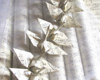 6 Music Score Wedding Party Favors Origami Peace Cranes Paper Traditional Classic Table Decoration Grey Ivory