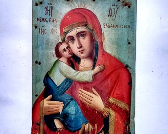 Antique Old Russian Orthodox Icon of the Mother of God of Vladimir, Vladimirskaya, Theotokos, Virgin and Child  Hand Painted 18x13cm
