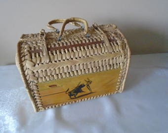woven straw basket with hand painted wooden panels, Flamenco dancers and bullfighter