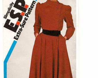 "A Full Skirt, Long Sleeve, Asymmetrical Collar/Close Dress Sewing Pattern for Women: Uncut-Sizes 10-12-14 Bust 32-1/2""-36"" • Simplicity 6162"