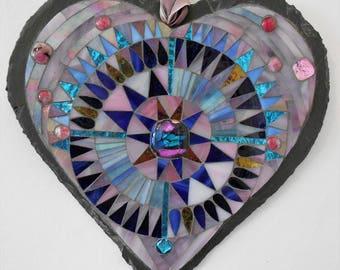 Slate Heart Mosaic Mandala Wall hanging