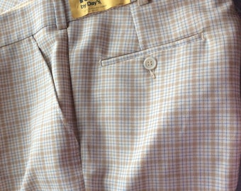 70s POLYESTER PANTS, plaid, unisex, rainier tag, hipster wear, mid century fashion, funky style