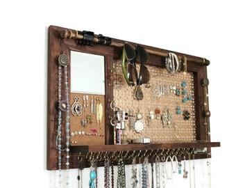 Jewelry Organizer - Wall Hanging Jewelry Shelf with Mirror // Jewelry Display //Jewelry Holder // Jewelry hanger