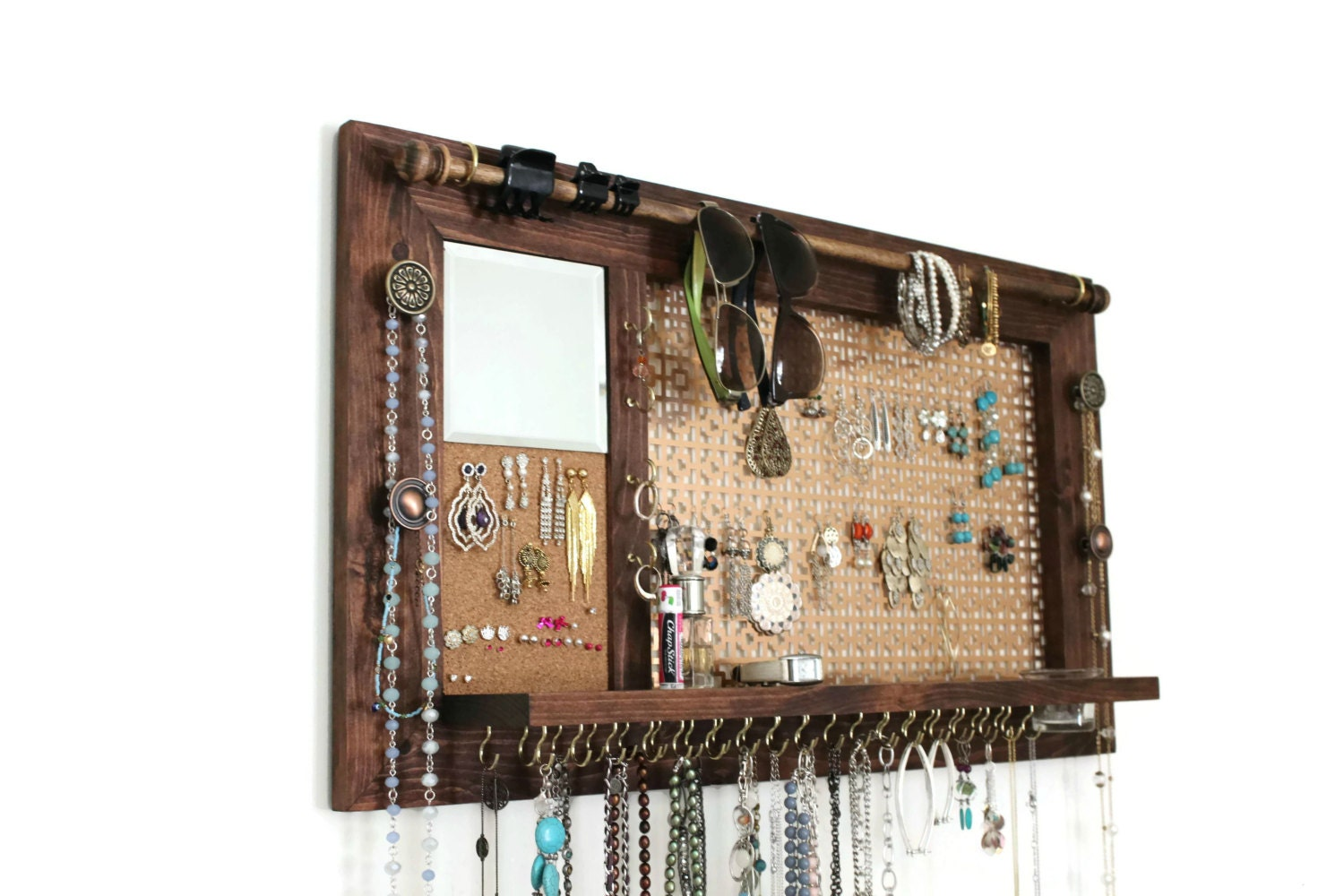 Jewelry Organizer Wall Hanging Jewelry Shelf with Mirror