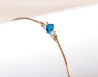 BRACELET with Swarovski Crystals, Gold FILLED SILVER. Minimalistic, delicate, perfect gift.