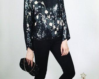 Vintage 80's Embellished Silk Blouse