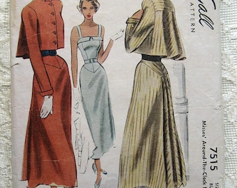 Vintage 40s Sleeveless Summer Dress with Cropped Flared Jacket. McCall 7515 Sewing Pattern. Size 16,  Bust 34