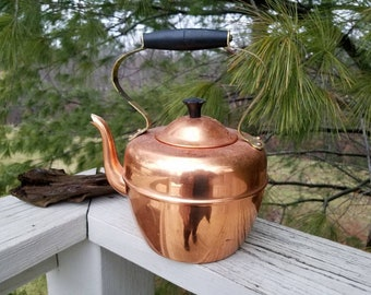 Copper & Brass Tea Kettle Vintage Kitchen Copral Made in Portugal