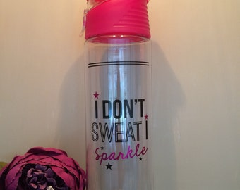 water bottle funny water bottles gym pink i dont sweat i sparkle funny quote easter gift for her 700ml sportsbottle motivational gym gift