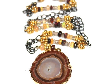 Agate Slice Necklace Delicate Necklace Ethiopian Black Opal Necklace Drusy Necklace Druzy Jewelry Stacking Necklace Everyday Jewelry