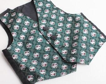 Vintage Green Size 12 Months Boys Vest, Wedding Vest