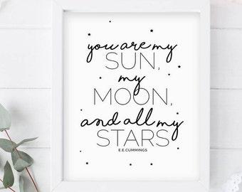 You are my sun Wall Decor PRINTABLE ART -Sun, Moon and stars Modern Nursery Art,  inspirational wall print,  INSTANT download 8x10
