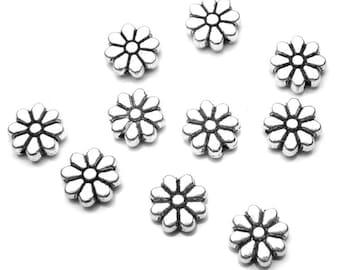 10 Flower Beads Antique Silver, Jewelry Supply, Lot of 10