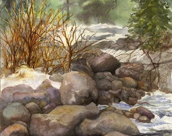 "Landscape, Water, Colorado, Rocks, Woods, Woodlands, Forest Floor, Brook, Snow, High-Quality Watercolor Giclee 16""x 21"" by Janet Dosenberry"