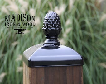 Post Cap for 6x6 Wood Fence or Gate Fence Post, Decorative Large Pineapple Wrought Iron Post Cap