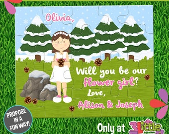 """Be My Flower Girl Puzzle - Personalized Flower Girl Announcement Puzzle - Personalized 8"""" x 10"""" Puzzle - Winter Pine Cone Flower Girl Puzzle"""