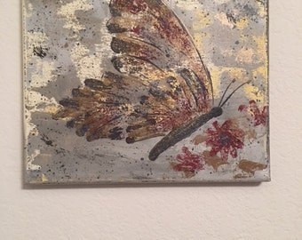 Original Buttertfly Acrylic Painting / 8 x 10 on Stretched Canvas