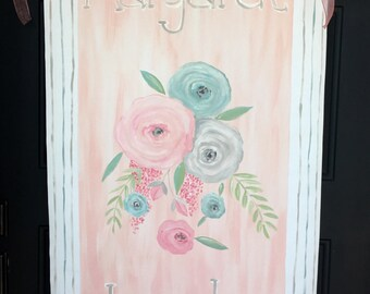 Hand painted personalized nursery banner