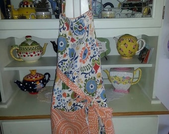 Peach and Blue floral Apron