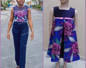 Mummy and Me Outfit Set, Blue Mix Ankara Set