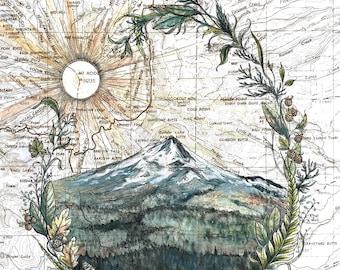 East Wy'east, Mount Hood painting print Mountain, Oregon mountain print, Portland wilderness art topo map art, unique wall art