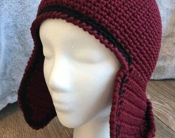 Crochet Flight Hat,  Winter Hat, Children's Hat, Beanie, Skull Cap, Trapper's Hat - One Size