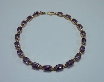 9.3 Gram 14K Yellow Gold and Amtehyst 8 inch Bracelet