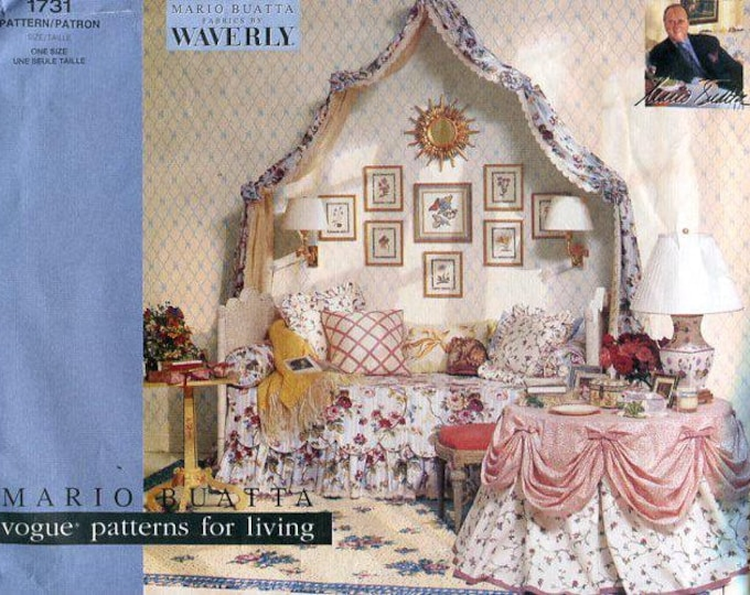 Free Us Ship Vogue 1731 Mario Buatta Patterns for Living Bedding Canopy Draped Wall Treatment Decor for over bed or window