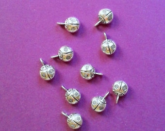 Tibetan Silver Ladybug Charms - 9 mm - Set of 10