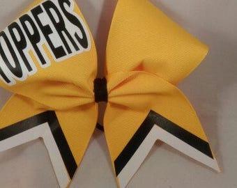 Cheer Bow Custom School Team Yellow Black White  by BlingItOnCheerBows