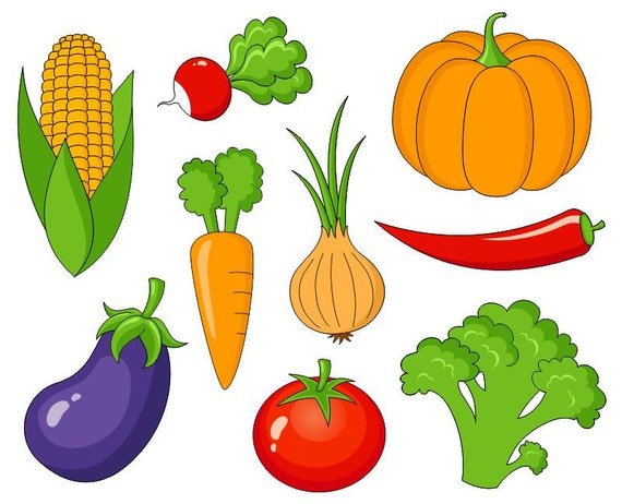 vegetables clip art cute veggies digital clipart corn rh etsy com clipart images of vegetables clipart of vegetables and fruit