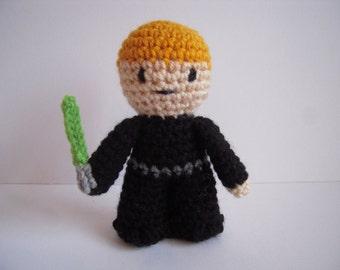 Crocheted Stuffed Amigurumi Star Wars Luke Skywalker Plush Toy