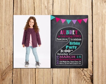 2nd Birthday Invitation Girl, Сhalkboard, SECOND BIRTHDAY INVITATION, 2nd birthday invitations girl, Second Birthday Chalkboard invitation