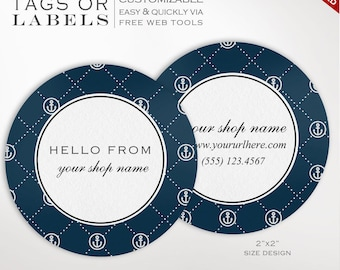 Round Label Template - 2 Inch Circular Nautical Label Template - DIY Stickers Printable Product Labels HangTags Avery Silhouette LB2R AAC