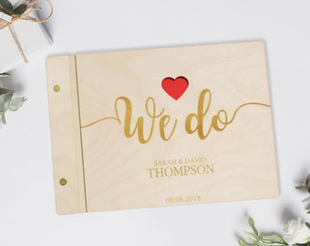 We do guestbook, Wedding Guest Book, Personalized Guest Book, Wooden guest book,  Romantic Photo Album, Script Book, Elegant Guestbook