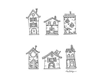 Little houses print black and white drawing illustration