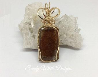 Lodolite Scenic~ Rectangular Pendant 14 kt Gold Wire  #wirewrappedjewelry #wiresculptedjewelry #sandywhitedesigns
