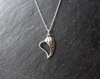Angel Wing Heart Pendant Sterling Silver on 16 or 18 inch Sterling Silver Chain