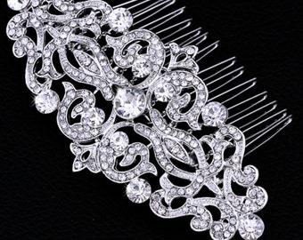 Silver Bridal Hair Comb Bridal Hair Accessories Silver Wedding Hair Comb Bridal Hairpiece Bridal Headpiece