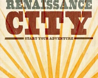Providence, Rhode Island - Skyline & Sunburst Screenprint Style - Lantern Press Artwork (Art Print - Multiple Sizes Available)