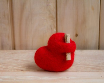 SALE Needle Felted Heart - Valentine's Day,  Toy, Wool love romantic gift home decor, Heart with message Birthday gifts for women, ornament