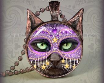 KM6 Purple Masked Black Cat pendant